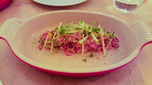 Ensaladilla de confit de pato, manzana verde y mostaza - Habitual