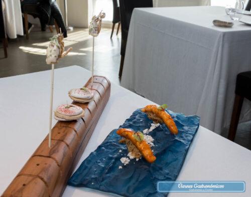 """Restaurant L'Antic Molí - Jornadas de la Galera 2017 - Royale de galera con frambuesa - """"Cap i pota"""" de galera"""