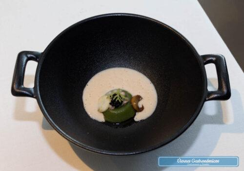 Restaurant L'Antic Molí - Jornadas de la Galera 2017 - Velouté de galera, anguila ahumada, caviar de arenque, setas de cardo e hinojo
