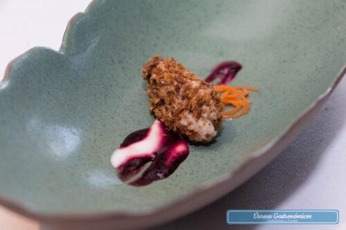 Restaurant L'Antic Molí - Jornadas de la Galera 2017 - Crujiente de panko con helado de galera, remolacha, yogur y zanahoria