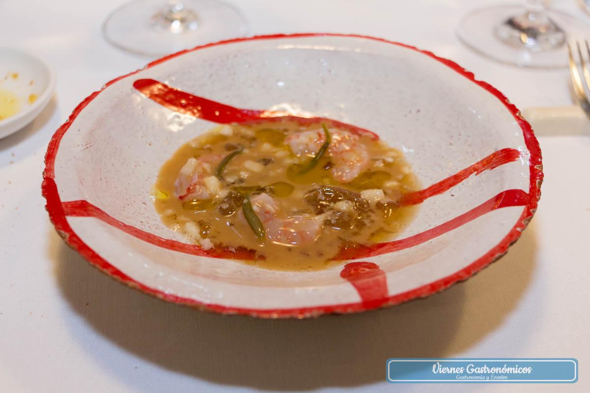 Aspic de gamba roja, hinojo marino y macadamia - Restaurante Saiti