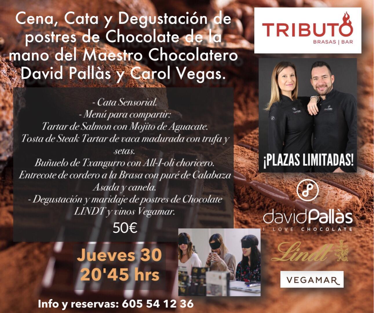 Cena, cata y degustación de postres de chocolate de la mano del maestro chocolatero David Pallás y Carol Vegas